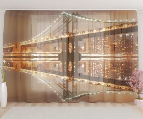 """ФотоТюль широкий """"Великолепный ночной мост"""""""