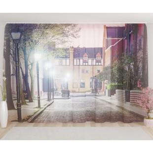 """ФотоТюль широкий """"Вечерняя улица"""""""