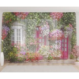 """ФотоТюль широкий """"Дом в цветах"""""""