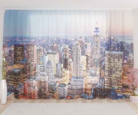 """ФотоТюль широкий """"Жизнь в Нью-Йорке"""""""