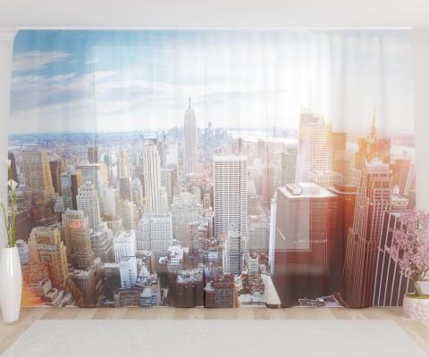 """ФотоТюль широкий """"Закат в Нью-Йорке"""""""