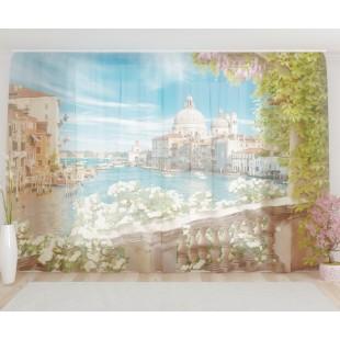 """ФотоТюль широкий """"Балкон в Венеции"""""""