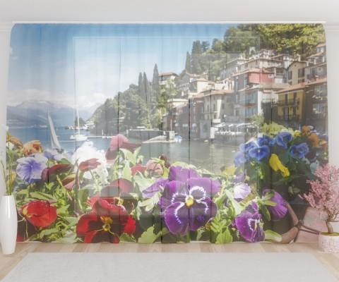 "ФотоТюль широкий ""Балкон на озере Комо"""