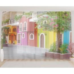 """ФотоТюль широкий """"Красочный дом"""""""