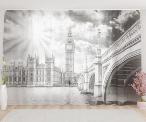 """ФотоТюль широкий """"Лондон черно-белый"""""""