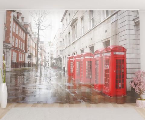 """ФотоТюль широкий """"Лондонские телефоны"""""""