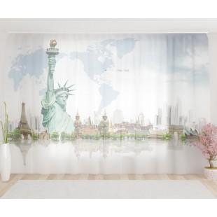 """ФотоТюль широкий """"Нью-йорк статуя свободы"""""""