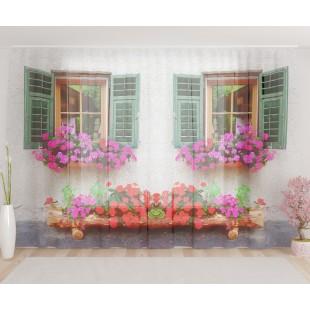 """ФотоТюль широкий """"Окно с цветами"""""""