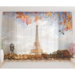 "ФотоТюль широкий ""Осенний Париж"""