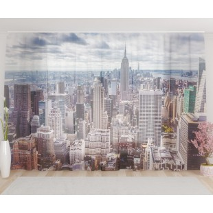 "ФотоТюль широкий ""Панорама Манхеттена"""