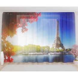 """ФотоТюль широкий """"Париж"""""""