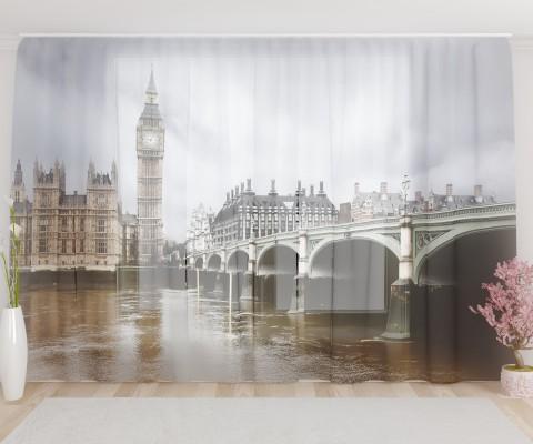 """ФотоТюль широкий """"Пасмурный Лондон"""""""