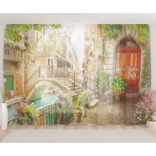 """ФотоТюль широкий """"Старинный мост в Венеции"""""""