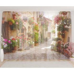 """ФотоТюль широкий """"Цветочная улочка в Италии"""""""