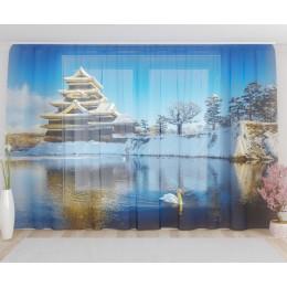 """ФотоТюль широкий """"Японский замок зимой"""""""