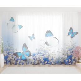 """ФотоТюль широкий """"Голубые бабочки"""""""