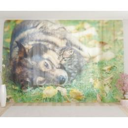 """ФотоТюль широкий """"Дружба животных"""""""