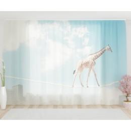 """ФотоТюль широкий """"Жираф на канате"""""""