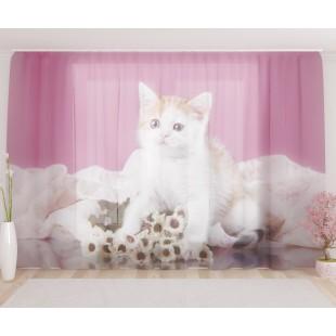 """ФотоТюль широкий """"Котёнок с букетом"""""""
