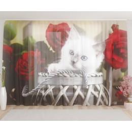 """ФотоТюль широкий """"Котёнок с розами"""""""