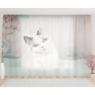 """ФотоТюль широкий """"Кошка модель"""""""