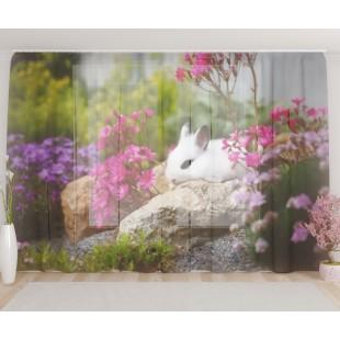 """ФотоТюль широкий """"Кролик в цветах"""""""