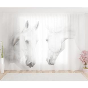 """ФотоТюль широкий """"Белые кони"""""""