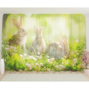 """ФотоТюль широкий """"Кролики на полянке"""""""