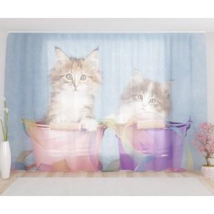 """ФотоТюль широкий """"Милые котята"""""""