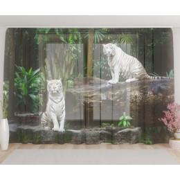 "ФотоТюль широкий ""Белые тигрята"""