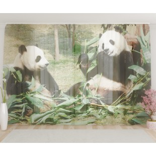 """ФотоТюль широкий """"Панды"""""""