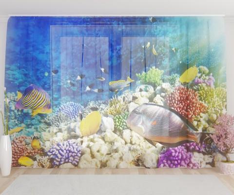 """ФотоТюль широкий """"Подводный мир"""""""
