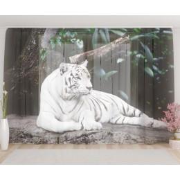 "ФотоТюль широкий ""Белый тигр"""