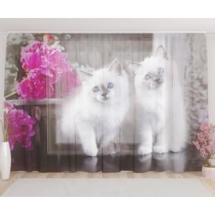 """ФотоТюль широкий """"Братья котята"""""""