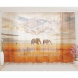 """ФотоТюль широкий """"Слоны на прогулке"""""""