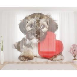 """ФотоТюль широкий """"Собака с сердцем"""""""