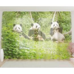 """ФотоТюль широкий """"Счастливые панды"""""""