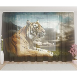 "ФотоТюль широкий ""Тигр в раздумьях"""