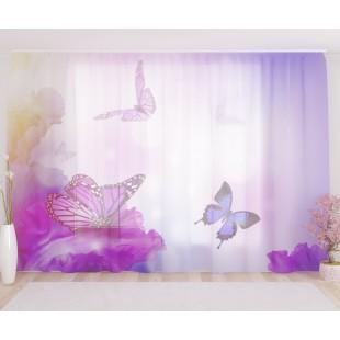 """ФотоТюль широкий """"Фиолетовые бабочки"""""""