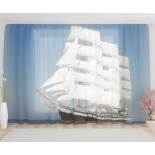 """ФотоТюль широкий """"Белый корабль"""""""