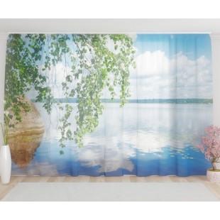 """ФотоТюль широкий """"Березовые ветви над озером"""""""
