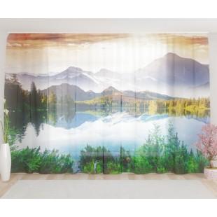 """ФотоТюль широкий """"Волшебное озеро в горах"""""""