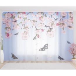 """ФотоТюль широкий """"Бабочки и цветы"""""""
