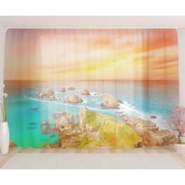 """ФотоТюль широкий """"Закат солнца на море"""""""