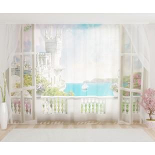 """ФотоТюль широкий """"Залив из балкона замка"""""""