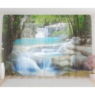 """ФотоТюль широкий """"Лесной водопад"""""""