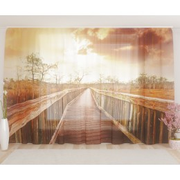 "ФотоТюль широкий ""Мост на закате"""