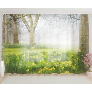 """ФотоТюль широкий """"Нарциссы в лесу"""""""