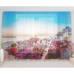 """ФотоТюль широкий """"Прекрасный восход в Санторини"""""""