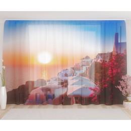 """ФотоТюль широкий """"Прекрасный закат в Санторини"""""""